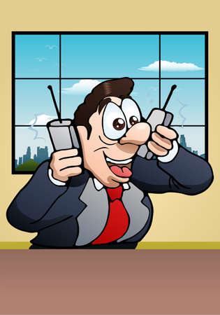 sinecure: illustration of a busy calling businessman