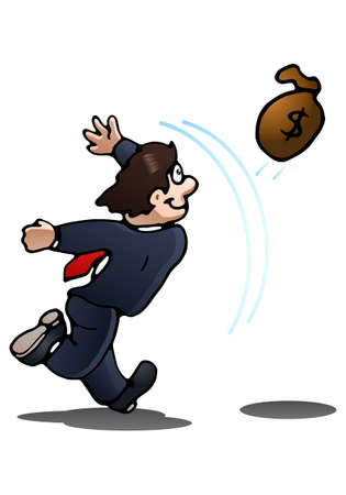 financial reward: illustration of a businessman throwing money bag on isolated over white background