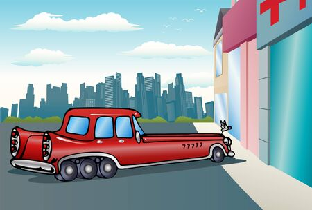pneumatic tyres: illustration of a super long car in red paint on city background Stock Photo