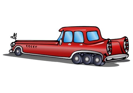 illustration of a super long car in red paint over isolated white background
