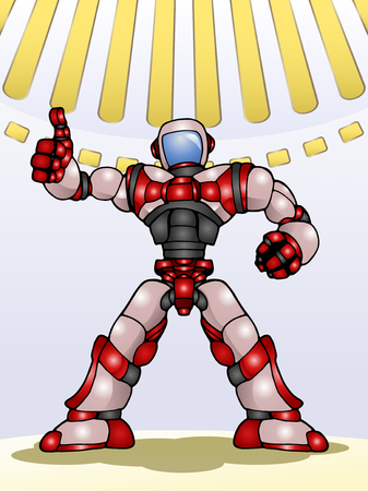 droid: illustration of a droid robot thumb up