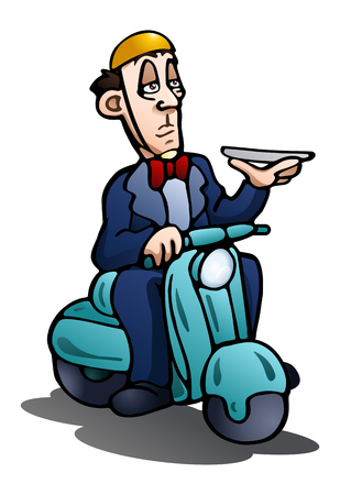 illustration of a man riding motorcycle hold tray on isolated white background
