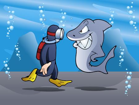 menace: illustration of a swimmer meet shark on ocean background