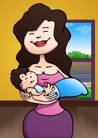 sitter: illustration of a mother hold baby on home background