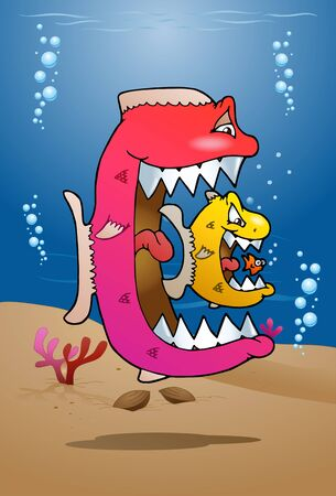 illustration of a fish eating cycle on sea background Stock Photo
