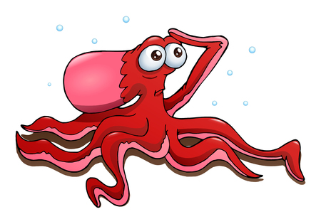 underwater fishes: cartoon illustration of a red octopus on isolated white background