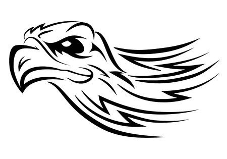 illustration of  eagle head tattoo on isolated white background