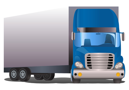 illustration of a semi trailer blue truck on isolated white background