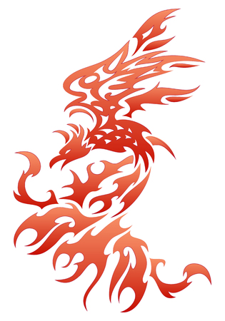 illustrations of a fiery bird tattoo on isolated white background