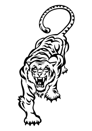 illustration of a wild tiger tattoo on isolated white background