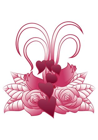 psique: illustration of a love plant tattoo on isolated white background