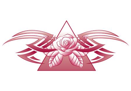 psique: Ilustración de un tatuaje de flores de joyería en fondo blanco aislado