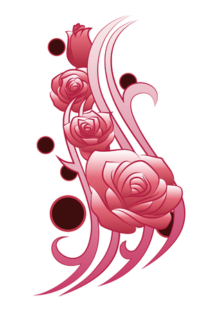 rose tattoo: illustration of a funky flower tattoo on isolated white background