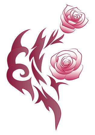 rose tattoo: illustration of a beautiful rose flowers tattoo on isolated white background