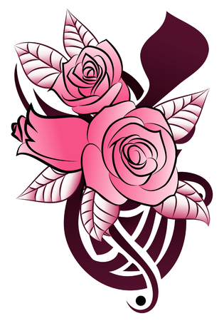 psyche: illustration of a graceful rose tattoo on isolated white background