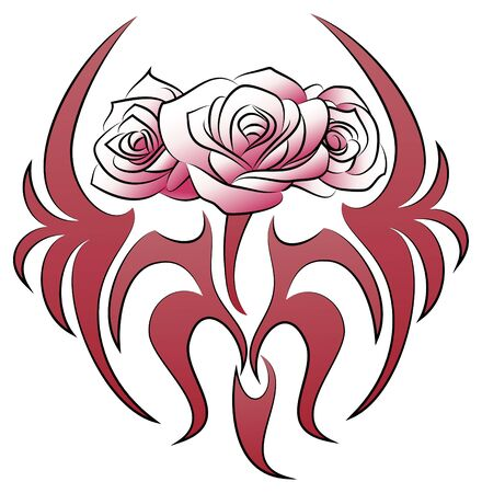 illustration of a cage flowers tattoo on isolated white background