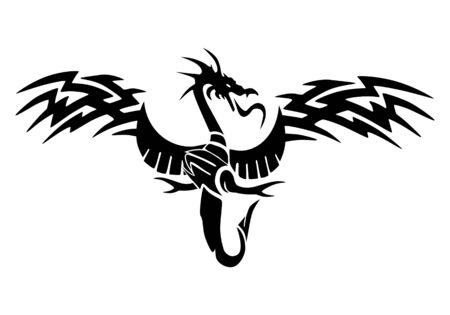 illustration of a bird ornament  tattoo on isolated white background