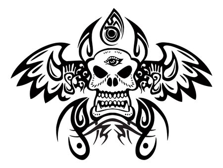 illustration of an ancient culture tattoo on isolated white background