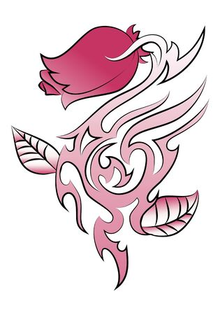 psyche: illustration of a spike rose tattoo on isolated white background