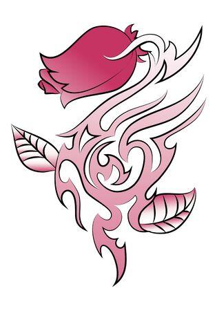 psique: Ilustración de un tatuaje de rosa pico en fondo blanco aislado
