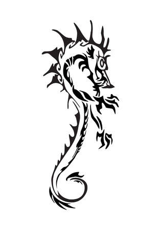 psyche: illustration of a cultural dragon tattoo on isolated white background Stock Photo
