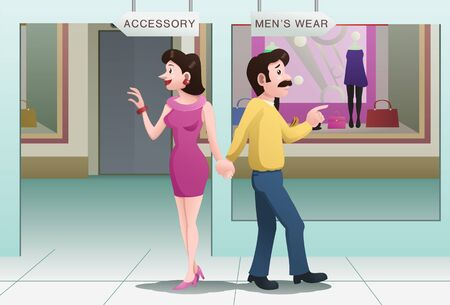 A couple choose direction on mall