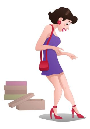 shopping girl buy shoes on isolated
