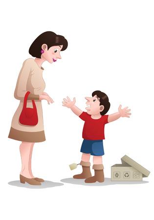niños vistiendose: mom buying shoes for her boy Foto de archivo