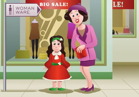 shopping mom buying dress