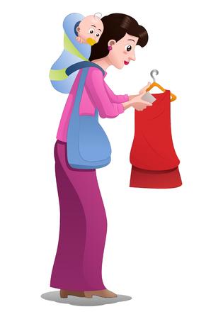 mom picking baby clothing