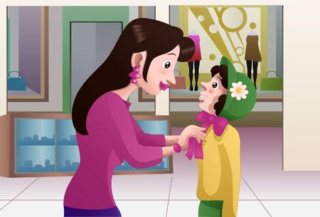 illustration of a shopping mother buying hat for her daughter on mall