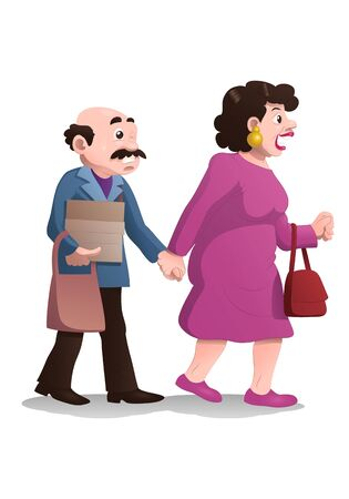 illustration of a shopping wife drag husband on isolated white