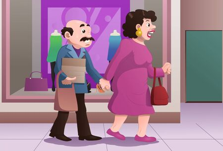illustration of a shopping wife drag husband on mall Stok Fotoğraf