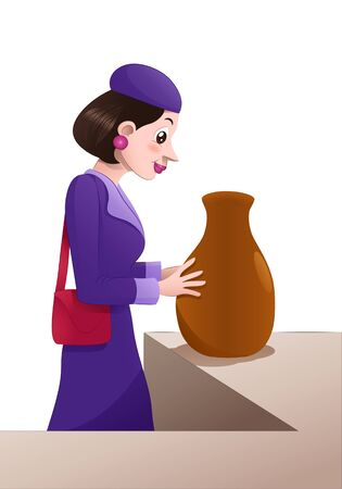 illustration of a shopping woman buying jar on isolated white Stok Fotoğraf