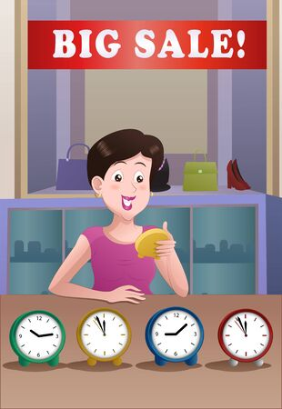 illustration of a shopping woman buy clock on mall