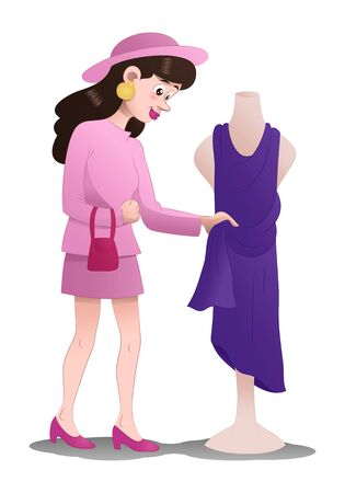 illustration of a shopping woman pick dress on isolated white