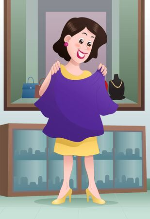 illustration of a shopping woman pick cloth on mall 写真素材