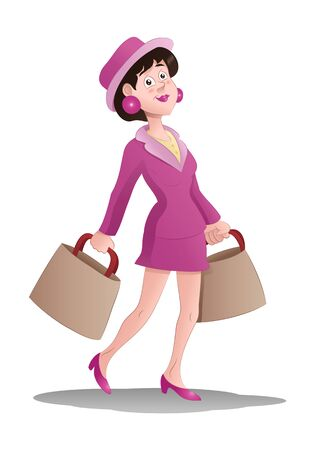 illustration of a shopping woman hold bag on isolated white Stok Fotoğraf