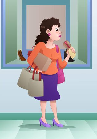illustration of a woman eat lunch while hold shopping bag on mall