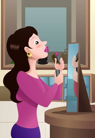 illustration of a shopping woman try lipstick on mall