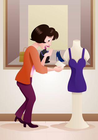 illustration of a shopping woman see price tag on mall