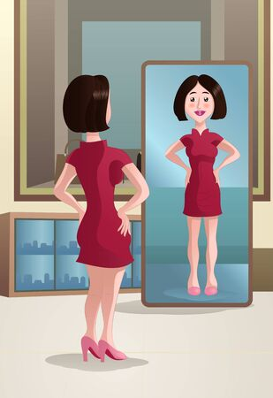 illustration of a shopping woman see on mirror on mall
