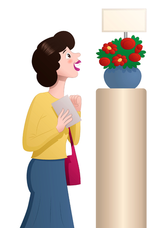 illustration of a shopping woman see flowers on isolated white Stok Fotoğraf