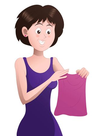 illustration of a shopping woman pick skirt on isolated white