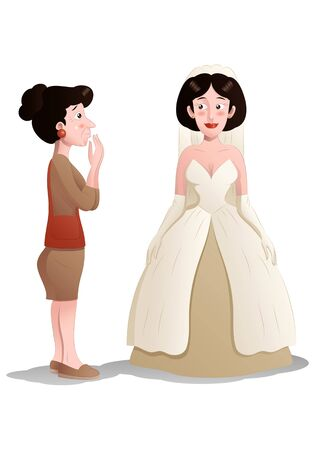 illustration of a shopping woman try wedding dress on isolated white