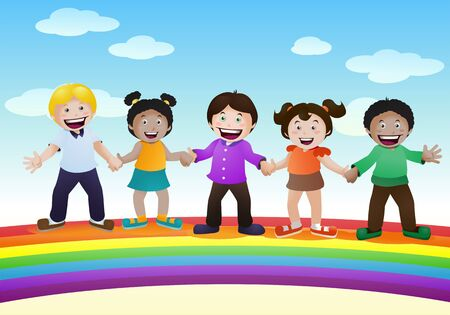 illustration of  various children happy being on top of rainbow bridge on nature background