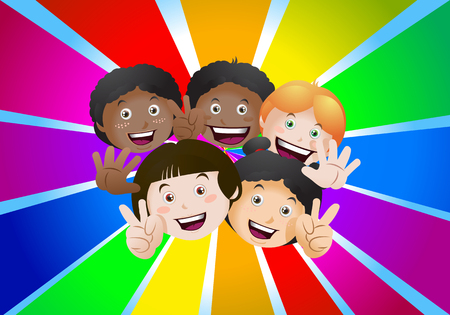 Illustration of cheerful happiness kids on rainbow color background Foto de archivo - 96362164