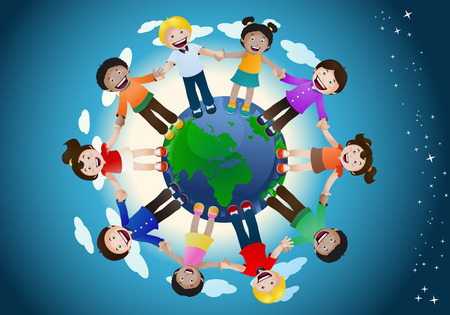 illustration of childrens united holding hand around the world on space background  Map source:  https:www.cia.govlibrarypublicationsthe-world-factbookmapsrefmap_time_zones.html   Software: Adobe Illustrator CS3.  Date created: 01-03-2018  layers of data used: 1 layer