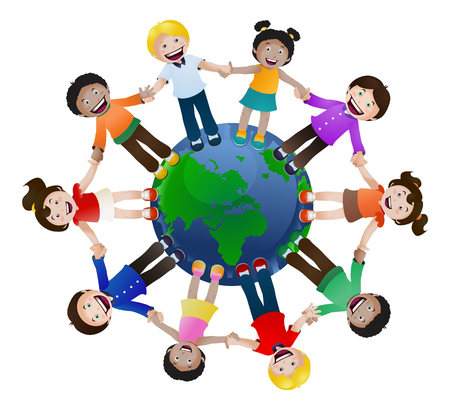 illustration of childrens united holding hand around the world on isolated white background Map 스톡 콘텐츠