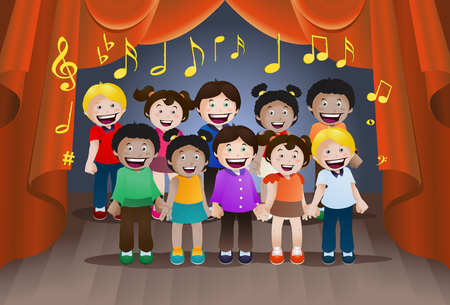 illustration of childrens singing together on stage background Фото со стока
